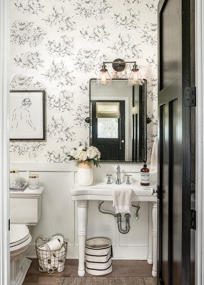 Cute Farmhouse Powder Room by M House Development