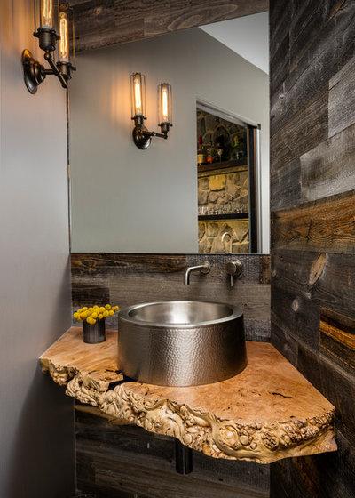 Rustic Powder Room by Paul Moon Design