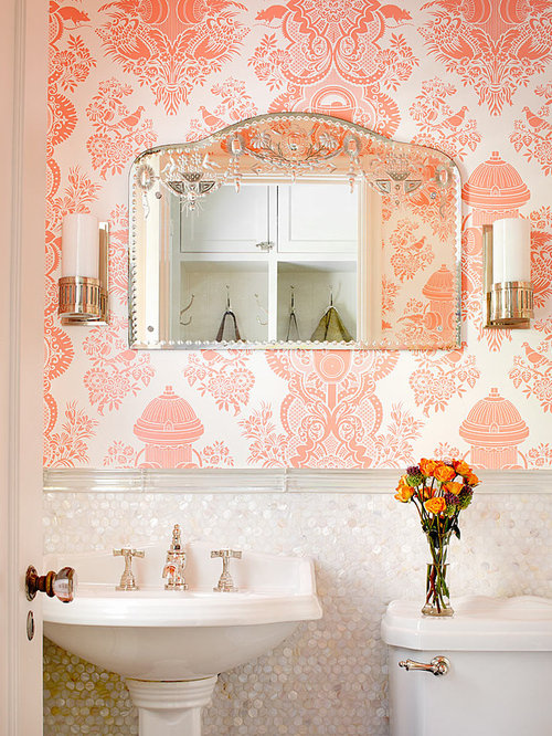 traditional powder room idea in chicago with a pedestal sink