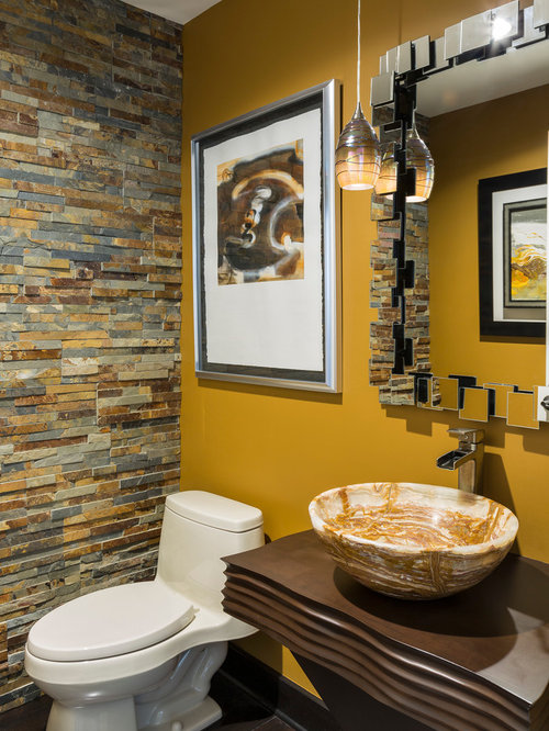 Yellow Powder Room Design Ideas, Remodels & Photos with a Vessel Sink