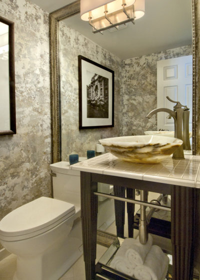 Transitional Powder Room by Beverly Bradshaw Interiors