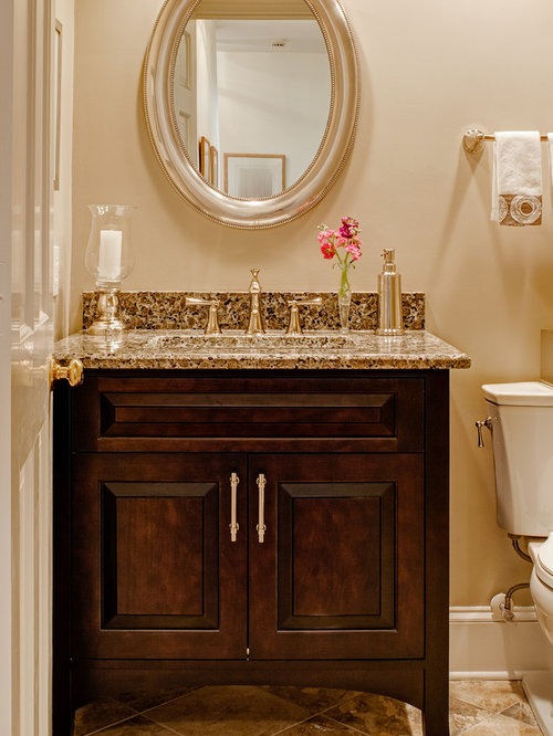 Powder Room Design Ideas, Remodels & Photos with Raised-Panel Cabinets