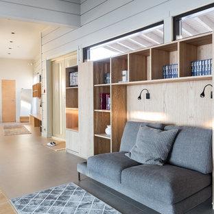 Пример оригинального дизайна: фойе среднего размера в современном стиле с полом из керамогранита, двустворчатой входной дверью, коричневым полом и белыми стенами