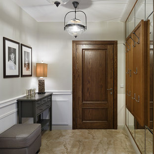 Entryway Transitional Beige Floor Idea In Saint Petersburg With White Walls And A Medium