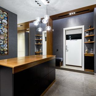 На фото: прихожая в современном стиле с серыми стенами, одностворчатой входной дверью и белой входной дверью с