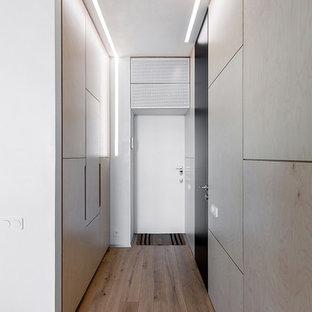 Выдающиеся фото от архитекторов и дизайнеров интерьера: узкая прихожая в современном стиле с бежевыми стенами, паркетным полом среднего тона, одностворчатой входной дверью и белой входной дверью