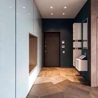 Свежая идея для дизайна: прихожая в современном стиле с одностворчатой входной дверью, коричневой входной дверью, разноцветными стенами и паркетным полом среднего тона - отличное фото интерьера