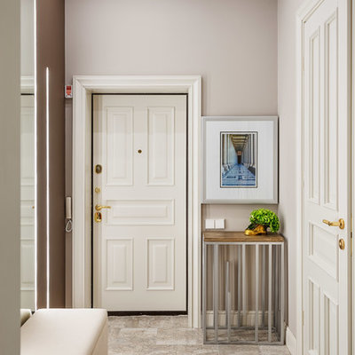 Mid-sized elegant single front door photo in Moscow with gray walls and a white front door