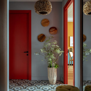 Design ideas for a contemporary hallway in Moscow with grey walls and grey floors.