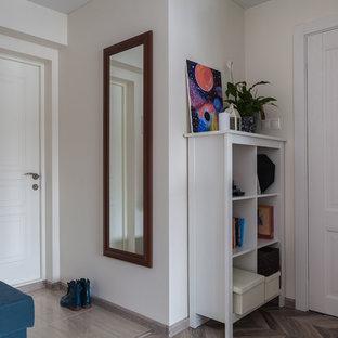 モスクワの小さい片開きドアコンテンポラリースタイルのおしゃれな玄関ドア (ベージュの壁、ラミネートの床、茶色い床、白いドア) の写真