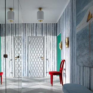Inspiration for an eclectic entry hall in Moscow with multi-coloured walls, a single front door and multi-coloured floor.