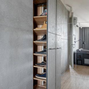 Пример оригинального дизайна: прихожая со шкафом для обуви в стиле лофт