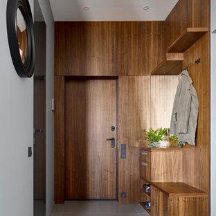 Идея дизайна: входная дверь в стиле модернизм с коричневыми стенами, одностворчатой входной дверью, входной дверью из дерева среднего тона и серым полом