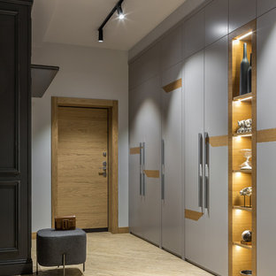 This is an example of a medium sized contemporary front door in Other with grey walls, vinyl flooring, a single front door, a medium wood front door and beige floors.