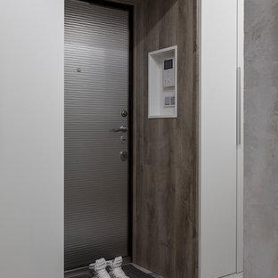 Неиссякаемый источник вдохновения для домашнего уюта: входная дверь в современном стиле с серыми стенами, одностворчатой входной дверью, металлической входной дверью и серым полом