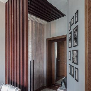 На фото: маленькая входная дверь в современном стиле с серыми стенами, полом из керамогранита, одностворчатой входной дверью, входной дверью из темного дерева и серым полом