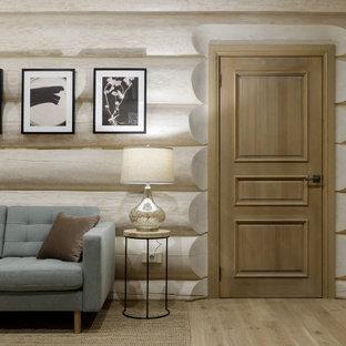 Inspiration pour une entrée chalet avec un mur blanc, un sol beige et un plafond en lambris de bois.