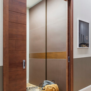 Inspiration for a small contemporary medium tone wood floor and yellow floor entryway remodel in Moscow with gray walls and a medium wood front door