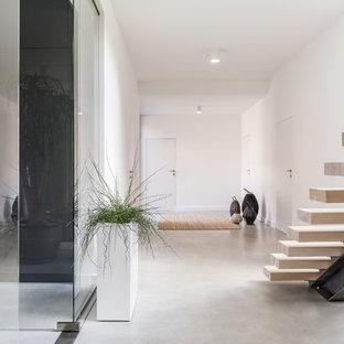 Ejemplo de recibidores y pasillos minimalistas con paredes blancas, suelo de cemento y suelo gris