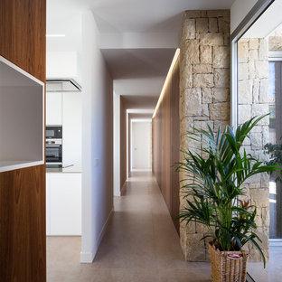 Diseño de recibidores y pasillos actuales, grandes, con paredes blancas, suelo de cemento y suelo gris