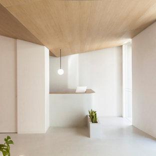 Пример оригинального дизайна: большой коридор в скандинавском стиле с белыми стенами, бетонным полом, серым полом и деревянным потолком