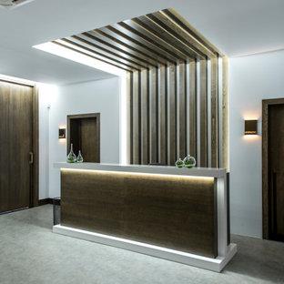 Inredning av en minimalistisk stor hall, med vita väggar, vinylgolv och grått golv