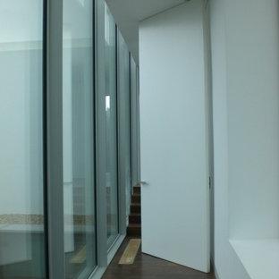 Mid-sized trendy dark wood floor hallway photo in Madrid with white walls