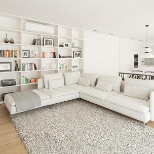 Modelo de sala de estar abierta, moderna, con paredes blancas, suelo de madera clara y suelo beige