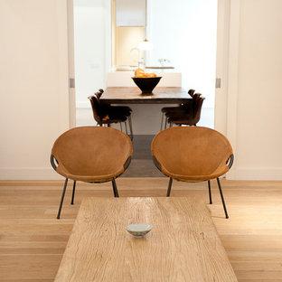 Modelo de sala de estar abierta, actual, de tamaño medio, sin chimenea, con paredes blancas y suelo de madera clara