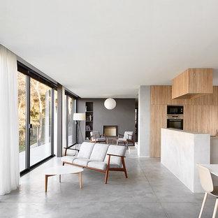 Ejemplo de sala de estar abierta, contemporánea, de tamaño medio, sin televisor, con paredes multicolor, suelo de baldosas de cerámica y chimenea tradicional