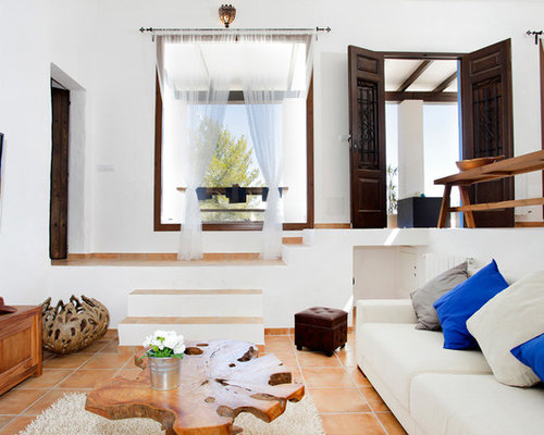 White Living Room Design Ideas Renovations Photos With Terra Cotta Floors