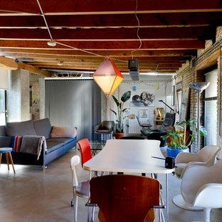 バレンシアの中サイズのインダストリアルスタイルのおしゃれな独立型ファミリールーム (マルチカラーの壁、テレビなし) の写真