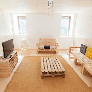 Diseño de sala de estar cerrada, escandinava, de tamaño medio, sin chimenea, con televisor independiente
