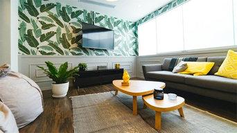 Decoración de salón en verde
