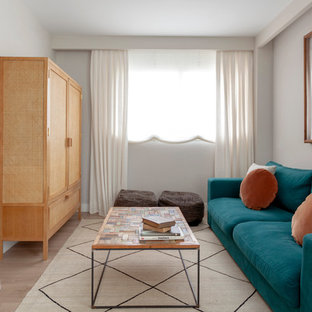 Imagen de sala de estar nórdica, sin chimenea, con paredes grises, suelo de madera clara y televisor retractable