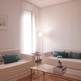 Immagine di un soggiorno tradizionale di medie dimensioni e chiuso con pareti bianche e camino lineare Ribbon