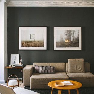Idee per un piccolo soggiorno moderno aperto con pareti nere e nessuna TV