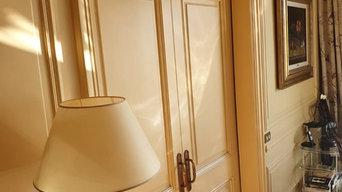 Obra Griñón - estucado veneciano blanco perla con fondo en riflexi dorado