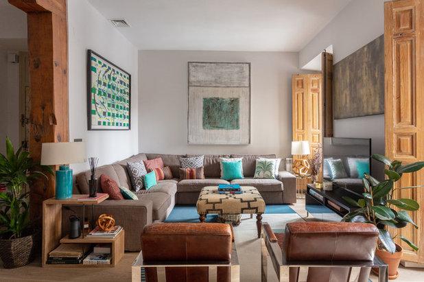 Mediterranean Family Room by ATRIO Design