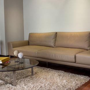 Esempio di un soggiorno moderno di medie dimensioni e stile loft con libreria, pavimento in compensato e pavimento marrone