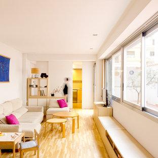 Foto de sala de estar cerrada, contemporánea, con paredes blancas, suelo de madera clara y televisor independiente