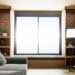 他の地域の中サイズのインダストリアルスタイルのおしゃれなオープンリビング (マルチカラーの壁、ラミネートの床、横長型暖炉、壁掛け型テレビ、茶色い床) の写真