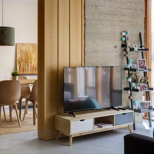 Modelo de sala de estar con biblioteca abierta, actual, pequeña, con paredes blancas, suelo de cemento, televisor independiente y suelo gris
