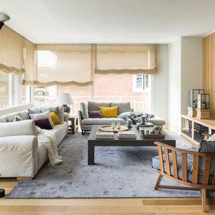 Ejemplo de sala de estar cerrada, contemporánea, de tamaño medio, sin chimenea y televisor, con paredes blancas, suelo de madera en tonos medios y suelo marrón