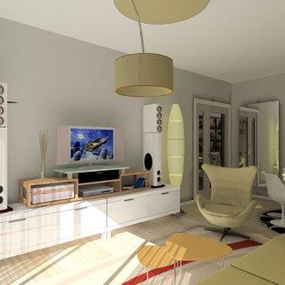 Ispirazione per un piccolo soggiorno nordico chiuso con pareti beige e pavimento in laminato