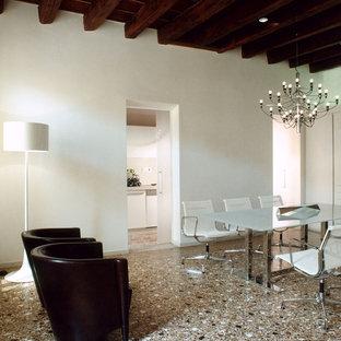 Ispirazione per una sala da pranzo aperta verso la cucina design di medie dimensioni con pareti bianche, pavimento in gres porcellanato e pavimento multicolore