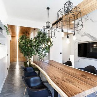 Immagine di una sala da pranzo aperta verso il soggiorno contemporanea di medie dimensioni con pareti bianche, pavimento in cemento, nessun camino e pavimento grigio