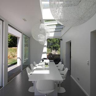 Aménagement d'une grand salle à manger contemporaine fermée avec un mur blanc.