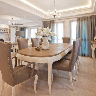 Imagen de comedor tradicional, grande, abierto, con paredes blancas, suelo de mármol y suelo beige