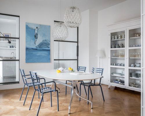 Sala da pranzo al mare con pareti bianche - Foto, Idee, Arredamento